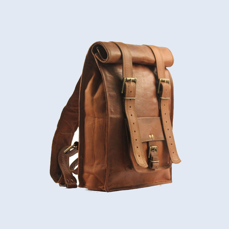 Men S Vintage Backpack Shoulder Bag Rucksack Top Roll