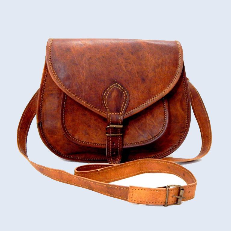 Shakun Leather Vintage Look Women Shoulder Crossbody Bag